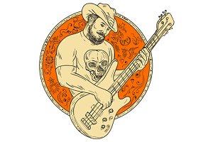 Cowboy Playing Bass Guitar Circle