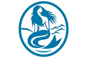 Mermaid Siren Sitting Singing Oval
