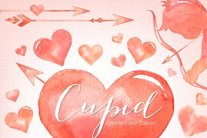 Cupid Valentine's Watercolor Clipart