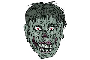 Zombie Skull Head Drawing