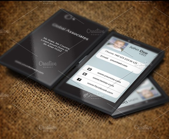 Mobile phone business card business card templates creative market colourmoves