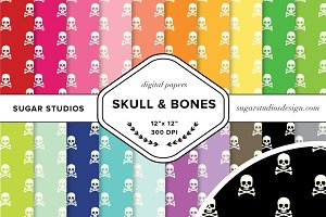 Skull and Bones Digital Paper Set