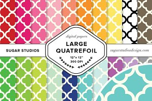 Large Quatrefoil Digital Paper Set
