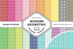 Modern Geometric Digital Paper Set