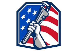 Plumber Hand Pipe Wrench USA Flag