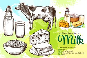 Milk Products Sketch Set