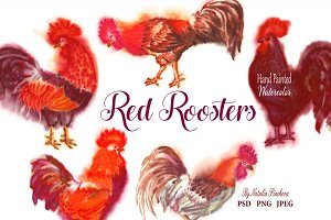 Red Watercolor Roosters