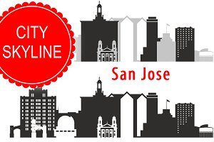 San Jose city vector skyline
