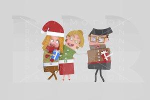 3d illustration. Family Xmas gift.