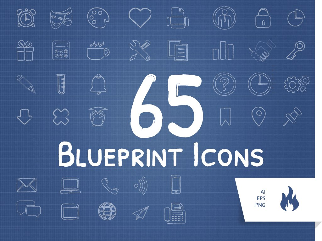 65 blueprint sketched icon set icons creative market malvernweather Choice Image