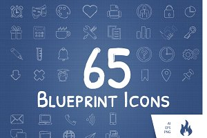 65 Blueprint / Sketched Icon Set