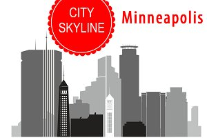 Minneapolis city vector skyline