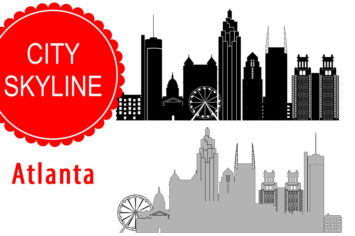 Atlanta city vector skyline ~ Illustrations ~ Creative Market