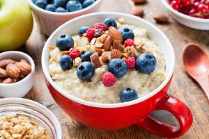 Loaded oatmeal porridge bowl