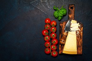 Italian food background, top view