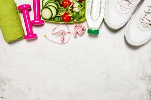 Sport equipment, food background