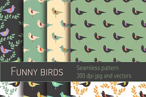 Funny birds seamless patterns