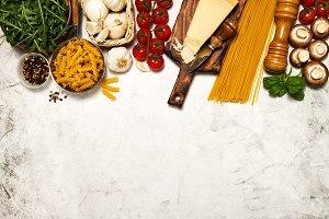 Healthy italian food background