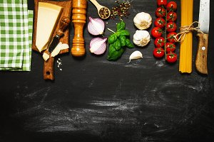 Healthy italian food background
