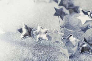 Silver Christmas composition with tiny stars