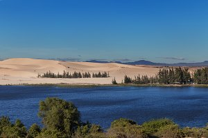 White sand dunes with the lake trees at Mui Ne