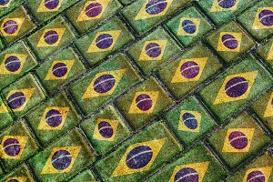 Brazil Flag Urban Grunge Pattern