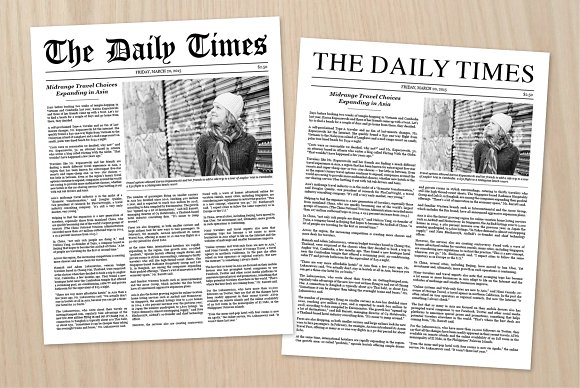Newspaper Article Template Stationery Templates Creative Market
