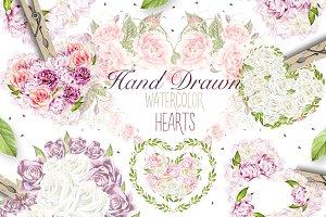 29 watercolor hearts