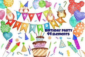 Watercolor Birthday Party Clipart
