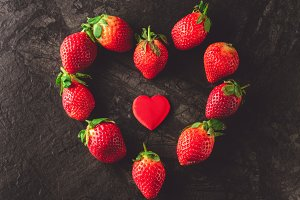 Strawberries in shape of heart
