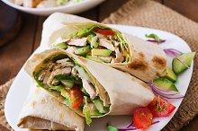 Fresh tortilla wraps with chicken