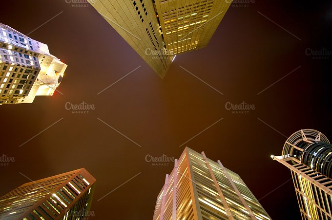 Singapore skyscrapers at night.jpg - Architecture