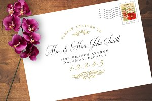 Vintage Style Wedding Address Design