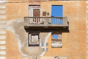 Abandoned building broken tenement apartment house