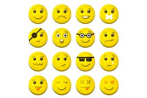 Yellow Smile Emotion Icons Set