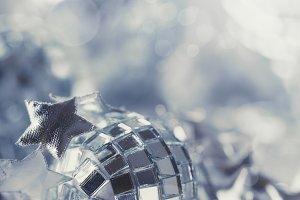 silver mirror baubles sparkling