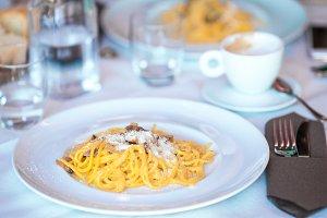 Italian spaghetti with cheese in the gourmet restaurant