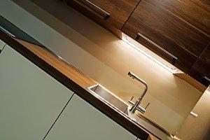 Modern kitchen interior, tilt view