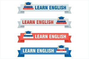 Set of learn english baners