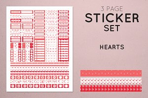 Planner Sticker Set - Hearts