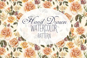 9 Hand Drawn Watercolor PATTERNS