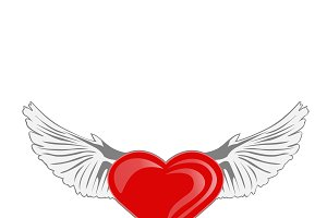 heart with wings. Vector