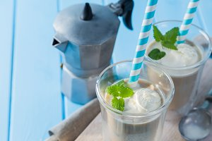 Summer iced coffee with milk and ice cream