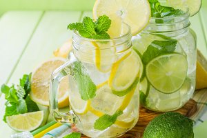 Selection of infused water for detox