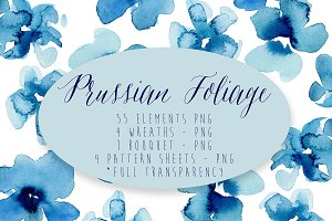 Prussian Foliage Watercolor Elements
