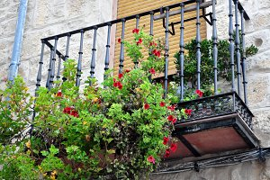 balcony with geranium flowers