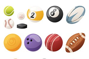 Set of sport balls isolated vector