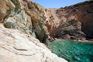 Rocky coast of Crete Island near Agia Pelagia village, Greece, Europe