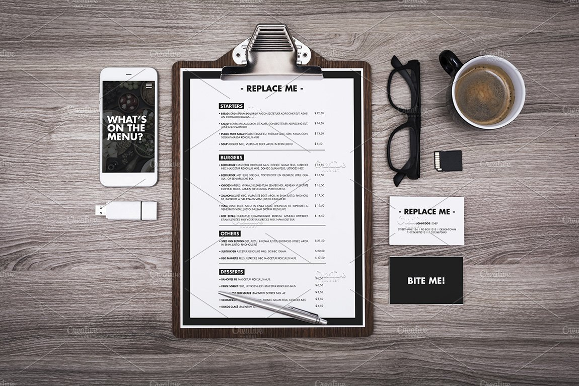 Preferred restaurant menu clipboard mockup ~ Product Mockups ~ Creative Market XG27
