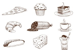 Vector hand drawn food sketch